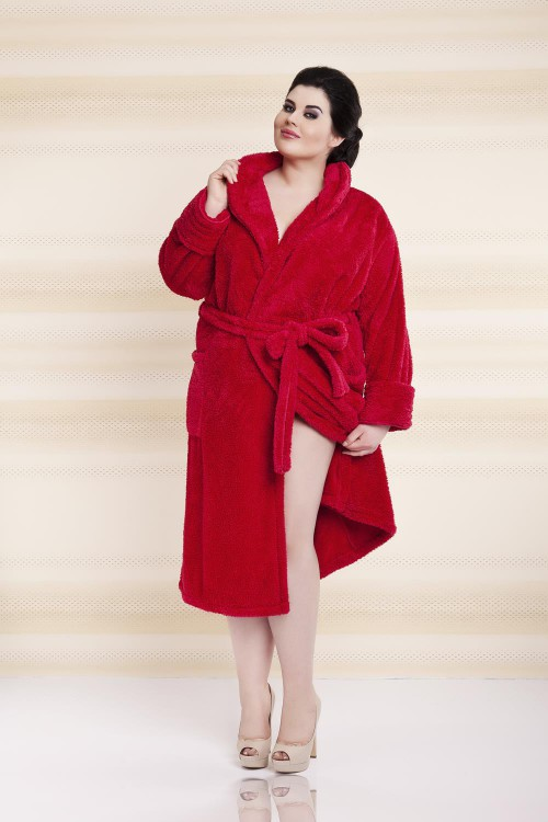 Plus Size, Dressing-gown Eliza Long Red Plus Size